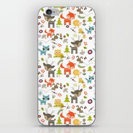 Cute Woodland Creatures Pattern iPhone Skin