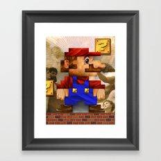 Super Mario Pixelated Realism Framed Art Print