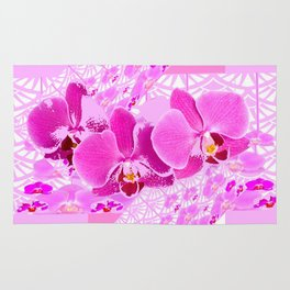 CERISE PINK ORCHID FLOWERS  WHITE PATTERN ABSTRACT Rug