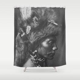 Native American Piegan Warrior, Yellow Kidney, portrait black and white photography Shower Curtain