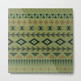 pattern modern design sage green tan brown southwestern Metal Print