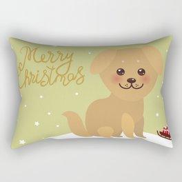 Merry Christmas New Year's card design Kawaii funny golden beige dog Rectangular Pillow