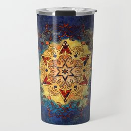 Star Shine in Gold and Blue Travel Mug