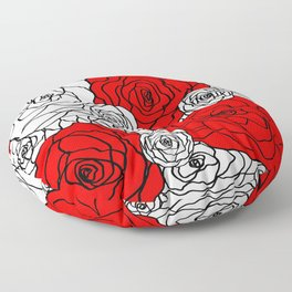 White & Red Rose Bush Floor Pillow