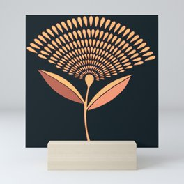 Mid Century Modern Dandelion Seed Head In Coral and Pink Mini Art Print