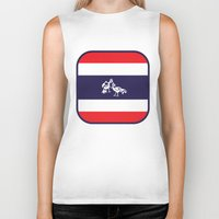 thailand Biker Tanks featuring Thailand Flag, Roosters Sparring by mailboxdisco