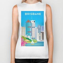 Brisbane, Australia - Skyline Illustration by Loose Petals Biker Tank