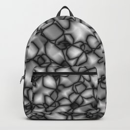 Chaotic bubbly inky of spherical molecules on dark glass. Backpack