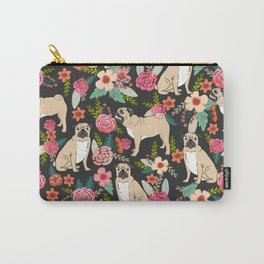 Pugs of spring floral pug dog cute pattern print florals flower garden nature dog park dog person  Carry-All Pouch