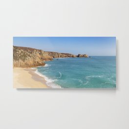 Turquoise sea at Porthcurno Beach in Cornwall, South England Metal Print