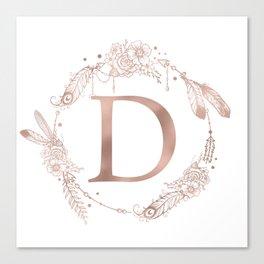 Letter D Rose Gold Pink Initial Monogram Canvas Print