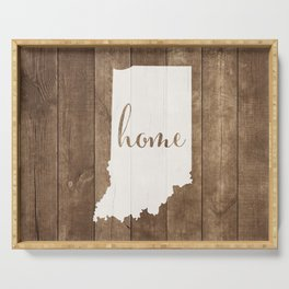 Indiana is Home - White on Wood Serving Tray