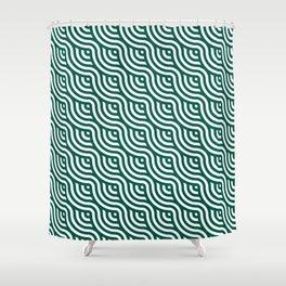 Cute seamless green circle geometric maze pattern Shower Curtain
