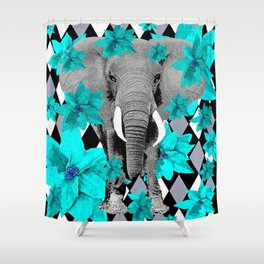 ELEPHANT and HARLEQUIN BLUE AND GRAY Shower Curtain