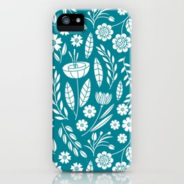 Blooming Field - teal iPhone Case