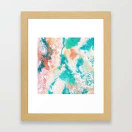 Sea Foam and Pink Abstract Framed Art Print