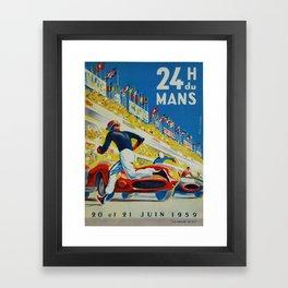 24hs Le Mans, 1959, vintage poster Framed Art Print