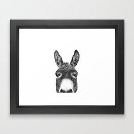 Hey Donkey BW Framed Art Print