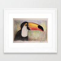 toucan Framed Art Prints featuring Toucan by Lyubov Fonareva