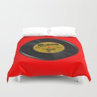 rockabilly Duvet Covers featuring Rockabilly Vinyl by Nano Barbero