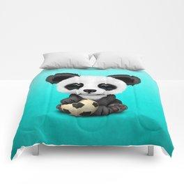 Cute Baby Panda With Football Soccer Ball Comforters