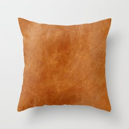 Rustic ginger smooth natural brown leather, vintage nature texture Throw Pillow