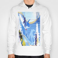 snowboarding Hoodies featuring Snowboarding by Robin Curtiss