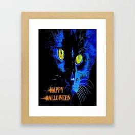 Black Cat Portrait with Happy Halloween Greeting  Framed Art Print