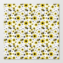 Honey Bumble Bee Yellow Floral Pattern Canvas Print