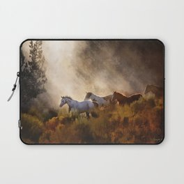 Horses in a Golden Meadow by Georgia M Baker Laptop Sleeve