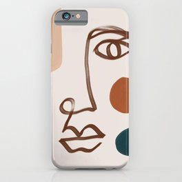 Face Line Art-Abstract Shape Composition iPhone Case