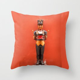 Carved drummer figure decoration Throw Pillow