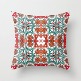 Seamless Floral Pattern Ornamental Tile Design : 7 Throw Pillow