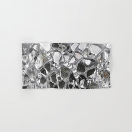Silver Mirrored Mosaic Hand & Bath Towel