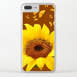 COFFEE BROWN YELLOW SUNFLOWER & BUTTERFLIES Clear iPhone Case