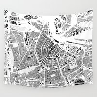 amsterdam Wall Tapestries featuring AMSTERDAM by Maps Factory