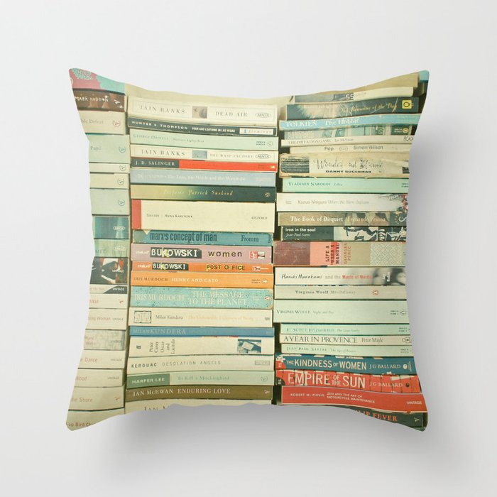Bookworm Throw Pillow by cassiabeck