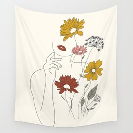 Colorful Thoughts Minimal Line Art Woman with Flowers III Wall Tapestry