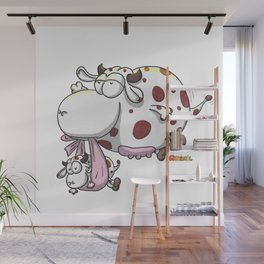 Flying cow Wall Mural