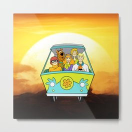 dog scooby sunset Metal Print
