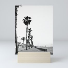 Playa de Valencia | Black and white photograph of the boulevard & beach | travel art Mini Art Print