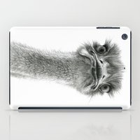 ostrich iPad Cases featuring Cute Ostrich SK053 by S-Schukina
