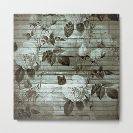 Sepia Shabby chic with painted roses Metal Print