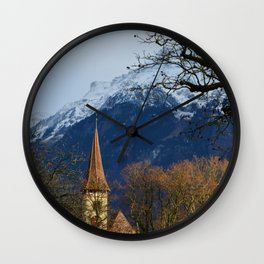 Mountain Church Interlaken Switzerland Wall Clock