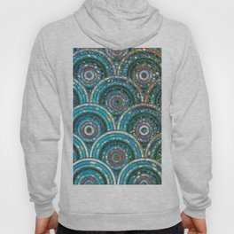 Aqua Teal Blue and Green Sparkling Faux Glitter Circles and Dots Hoody