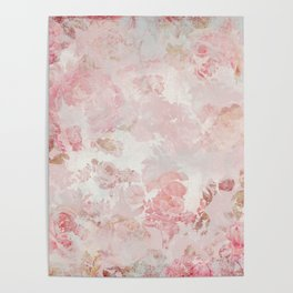 Vintage Floral Rose Roses painterly pattern in pink Poster