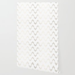 Simply Deconstructed Chevron White Gold Sands on White Wallpaper