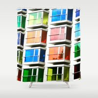 rainbow Shower Curtains featuring rainBOW by 2sweet4words Designs