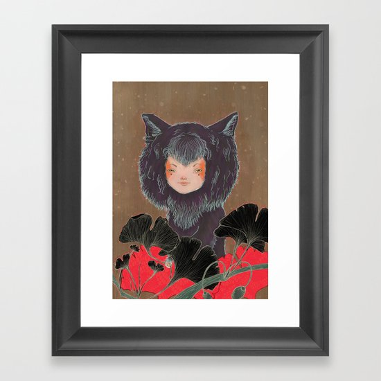 Fox Spirit Kitsune in Gingko Framed Art Print