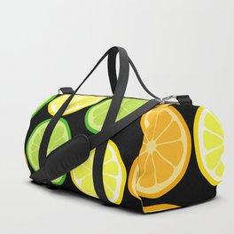 Citrus Slices on Black Duffle Bag